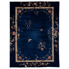 Antique Art Deco Blue and Beige Chinese Handmade Floral Wool Rug