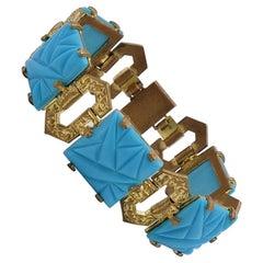 Antique Art Deco Brass Bracelet Glass Turquoise 1930's