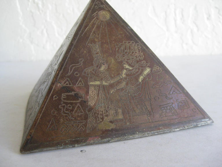 Antique Art Deco Brass & Copper Egyptian Revival Pyramid Desk Statue Paperweight For Sale 7