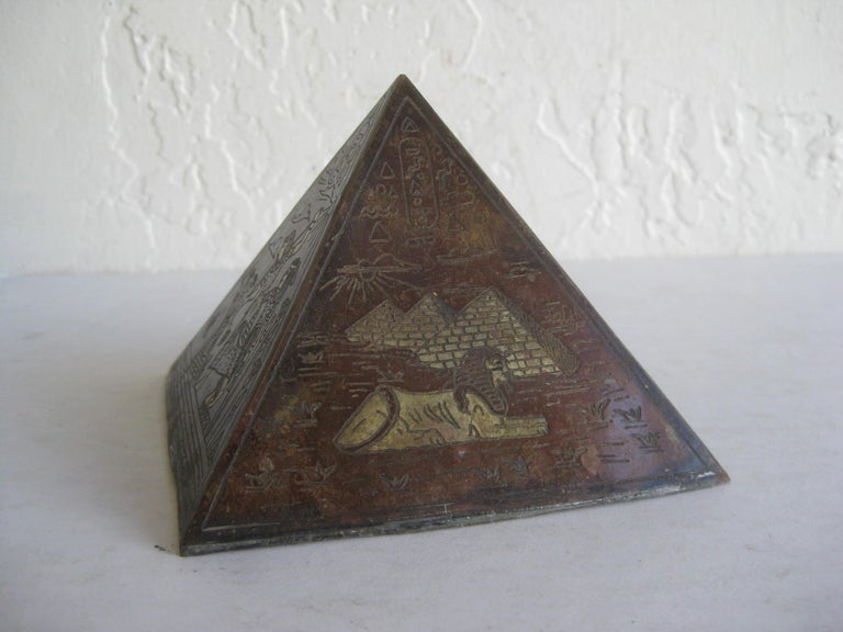 20th Century Antique Art Deco Brass & Copper Egyptian Revival Pyramid Desk Statue Paperweight For Sale