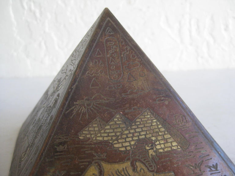 Antique Art Deco Brass & Copper Egyptian Revival Pyramid Desk Statue Paperweight For Sale 1