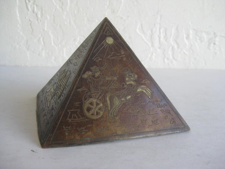 Antique Art Deco Brass & Copper Egyptian Revival Pyramid Desk Statue Paperweight For Sale 3