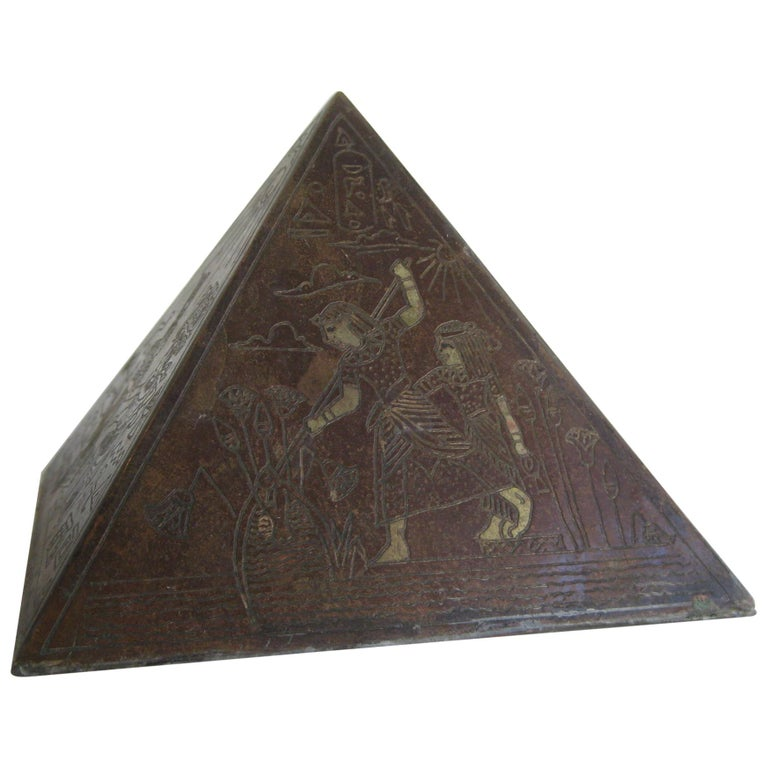 Antique Art Deco Brass & Copper Egyptian Revival Pyramid Desk Statue Paperweight For Sale