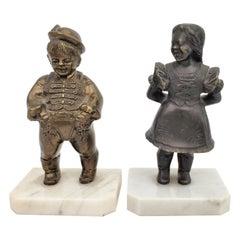Antique Art Deco Bronze Figural Male & Female Character Sculptural Bookends