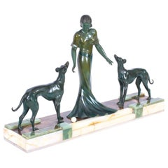 Antique Art Deco Bronze Figure of A Maiden & Hounds P.Huguenot, 1920s