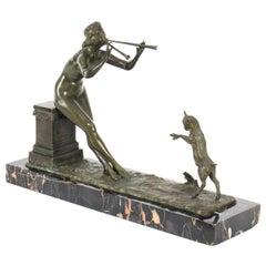 Antique Art Deco Bronze Figure of Maiden & Lamb by Henri. Fuere 1920s