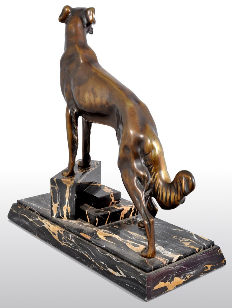 Antique Art Deco Bronze Russian Borzoi/Wolfhound/Dog by Louis-Albert Carvin In Good Condition For Sale In Portland, OR