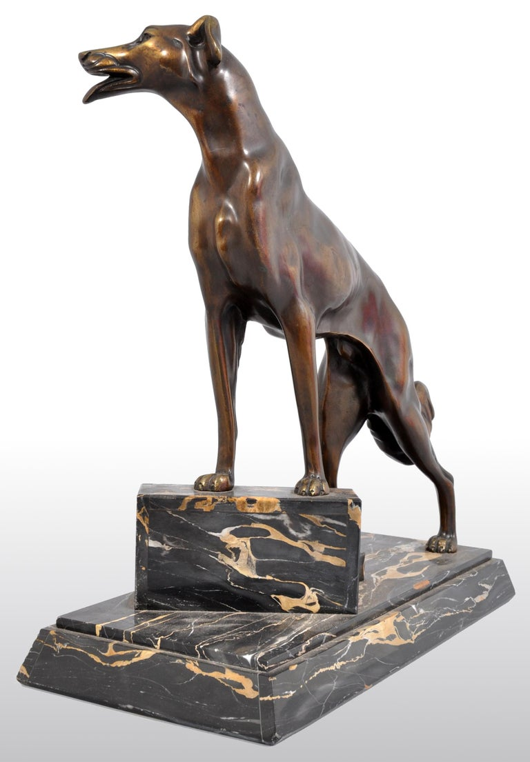 Antique Art Deco Bronze Russian Borzoi/Wolfhound/Dog by Louis-Albert Carvin For Sale 1
