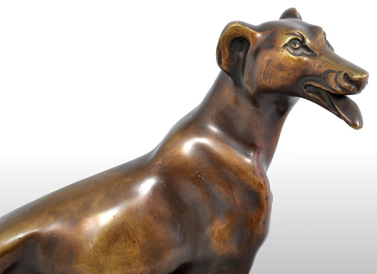 Antique Art Deco Bronze Russian Borzoi/Wolfhound/Dog by Louis-Albert Carvin For Sale 4