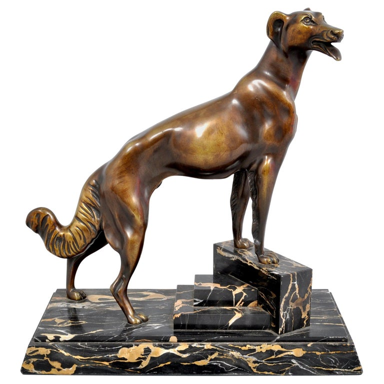 Antique Art Deco Bronze Russian Borzoi/Wolfhound/Dog by Louis-Albert Carvin For Sale