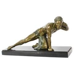 """Art Deco Bronzed Sculpture """"Le Guetteur"""" Jean De Roncourt 1920, 20th Century"""