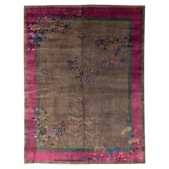 Antique Art Deco Brown Handmade Floral Chinese Wool Rug