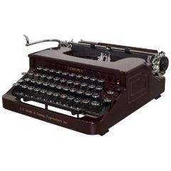 "Antique Art Deco Burgundy Smith Corona ""Silent"" Typewriter, circa 1934"