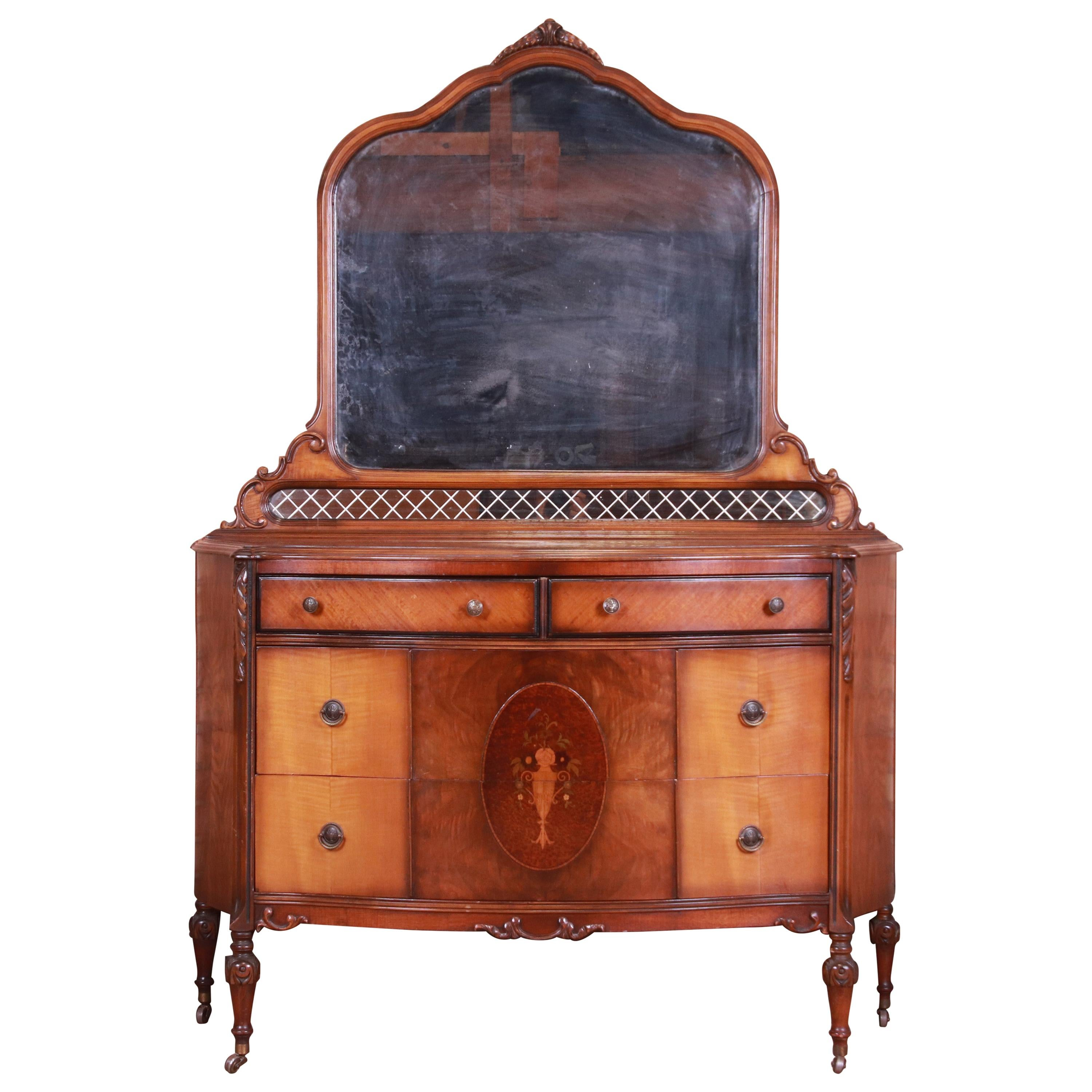 Antique Art Deco Burled Walnut and Inlaid Marquetry Dresser with Mirror, 1920s