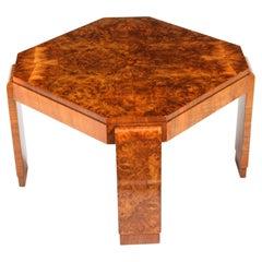 Antique Art Deco Burr Walnut Coffee Table, 1920s