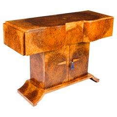 Antique Art Deco Burr Walnut Console Table Sideboard by Salaman Hille, 1930s