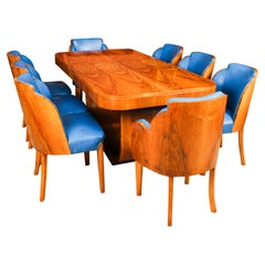 Antique Art Deco Burr Walnut Dining Table & 8 Cloud Back Chairs 1930s
