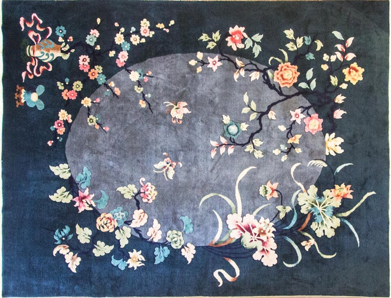 This wonderful Art Deco carpet was made in China, circa 1910s or 1920s. Walter Nichols was great American rug producer (the Art Deco rugs which he did not originate them) in Tientsin. The rugs made of wool and silk with bold vibrant colors and the