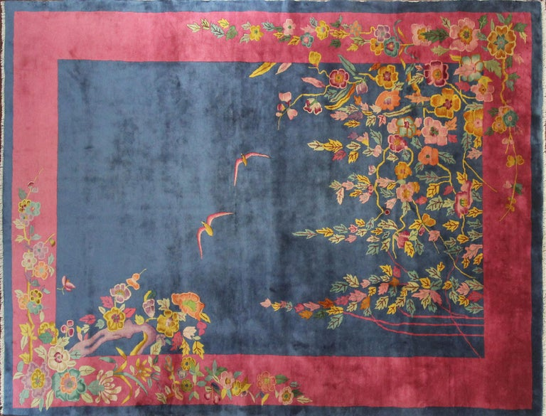 Chinese Antique Art Deco Carpet, Sea and Blue Sky For Sale