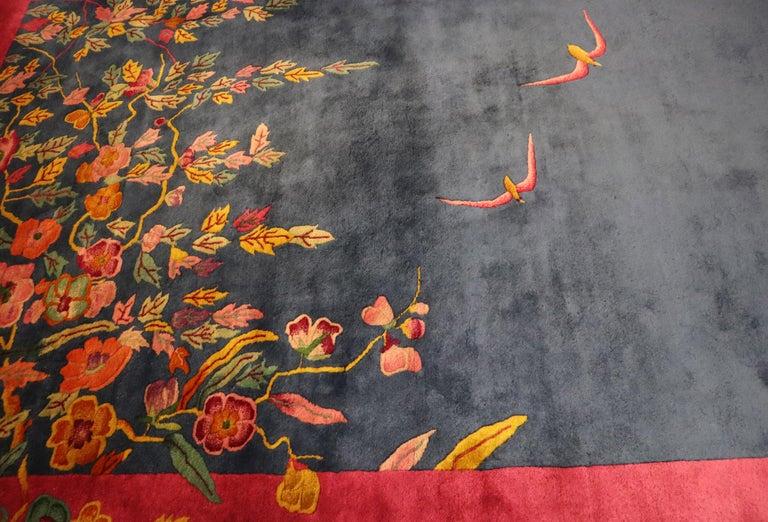 Antique Art Deco Carpet, Sea and Blue Sky In Excellent Condition For Sale In Evanston, IL