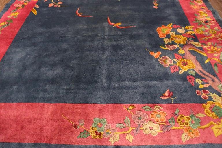 Wool Antique Art Deco Carpet, Sea and Blue Sky For Sale