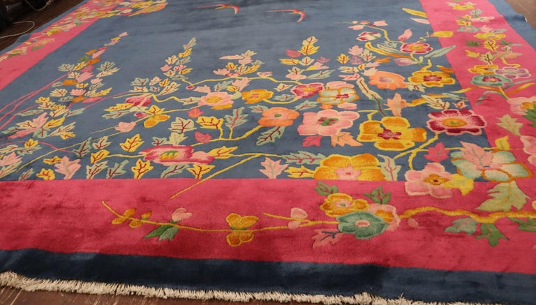 Antique Art Deco Carpet, Sea and Blue Sky For Sale 2