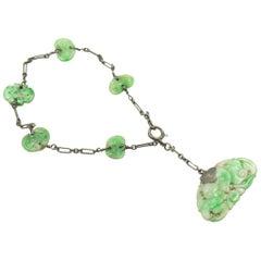 Antique Art Deco Carved Jade Leaf Sterling Silver Charm Pendant Bracelet