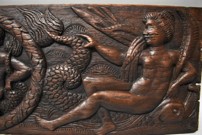 Unknown Antique Art Deco Carved Oak Panel Neptune and Sea Serpent For Sale