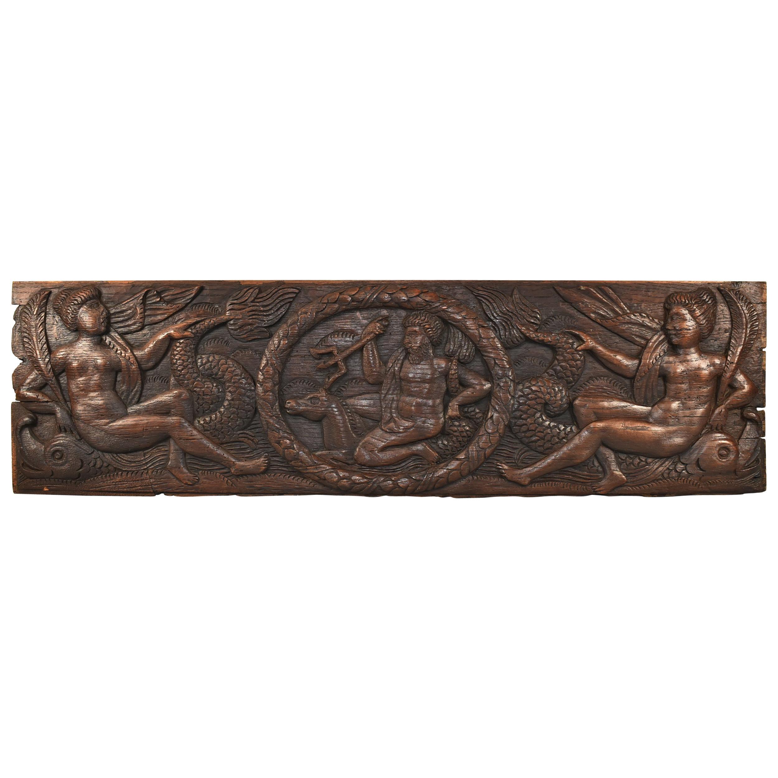 Antique Art Deco Carved Oak Panel Neptune and Sea Serpent