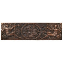 Antique Art Deco Carved Oak Panel Neptune and Sea Serpent