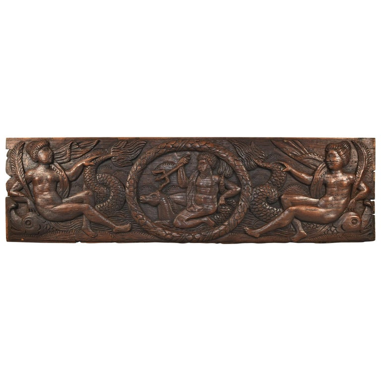Antique Art Deco Carved Oak Panel Neptune and Sea Serpent For Sale