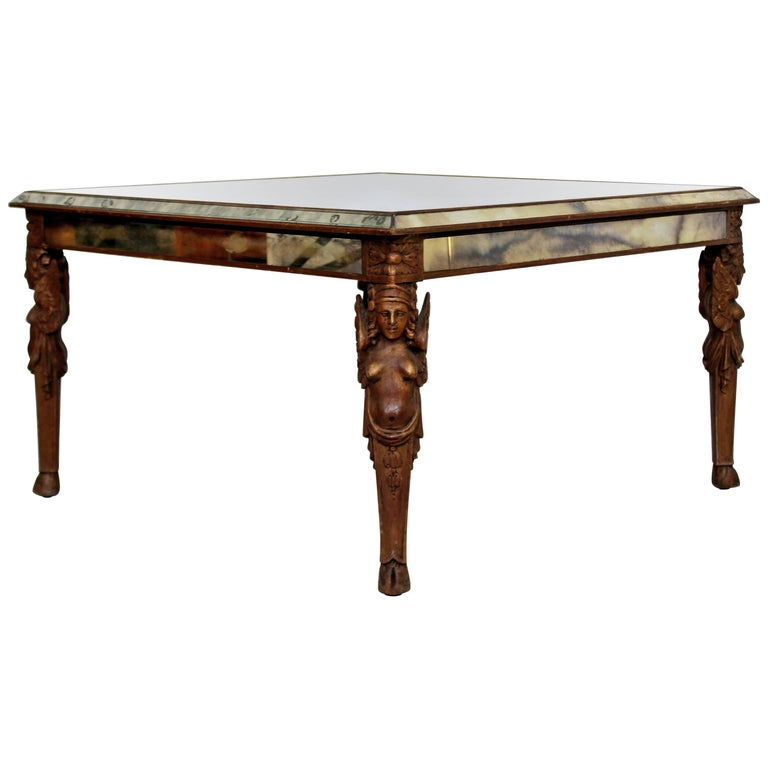 Mirrored Coffee Table Sale: Antique Art Deco Carved Wood And Mirrored Glass Coffee