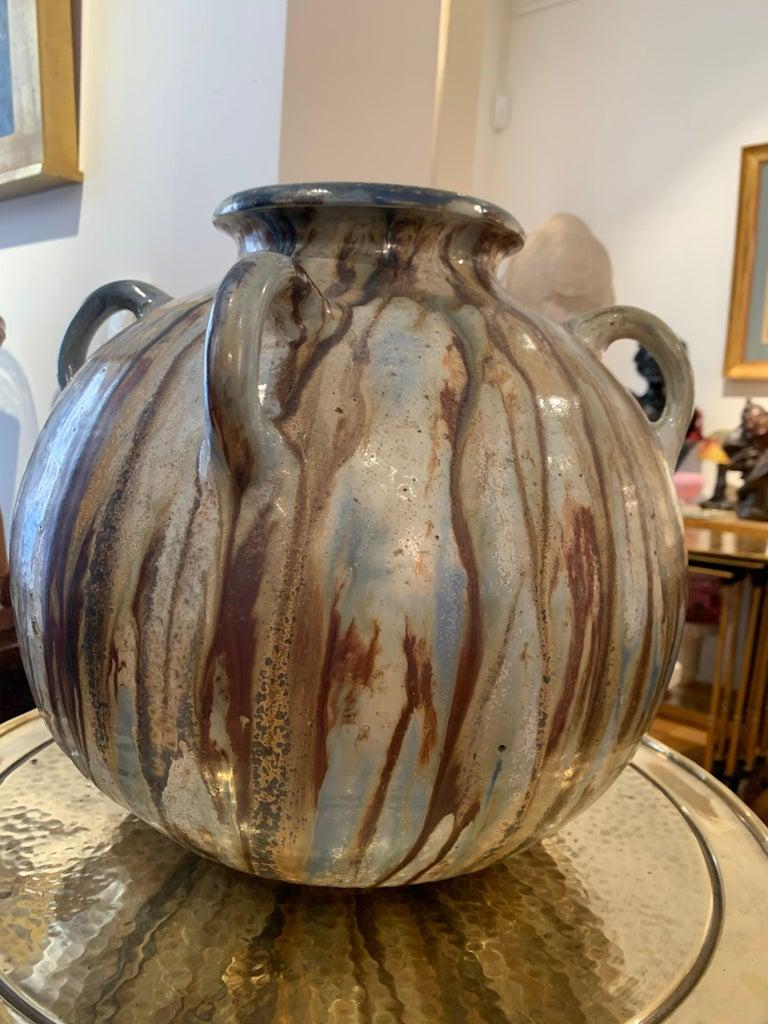 Belgian Antique Art Deco Ceramic Vase Drip Glaze Fully Signed Roger Guerin Belgium For Sale