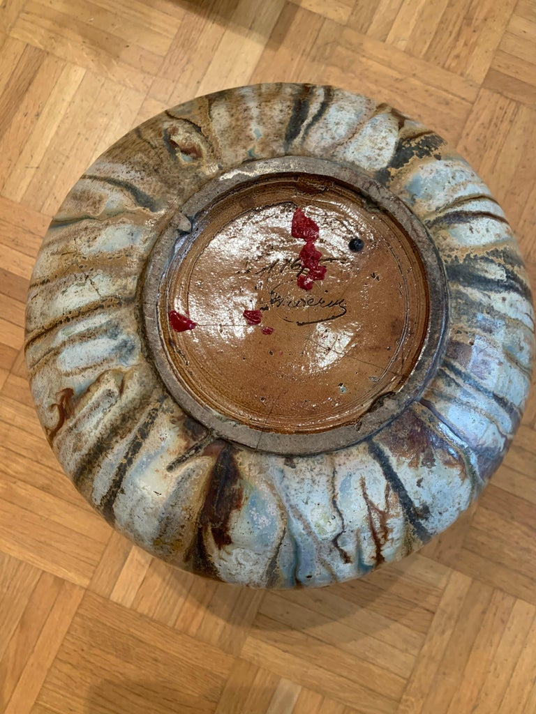 Glazed Antique Art Deco Ceramic Vase Drip Glaze Fully Signed Roger Guerin Belgium For Sale