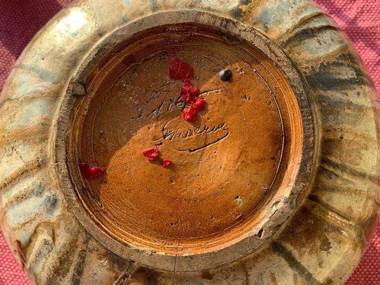 Antique Art Deco Ceramic Vase Drip Glaze Fully Signed Roger Guerin Belgium In Good Condition For Sale In Munich, DE