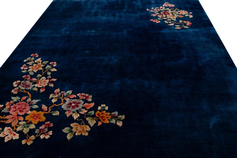 Hand-Knotted Antique Art Deco Chinese Blue Handmade Floral Wool Rug For Sale