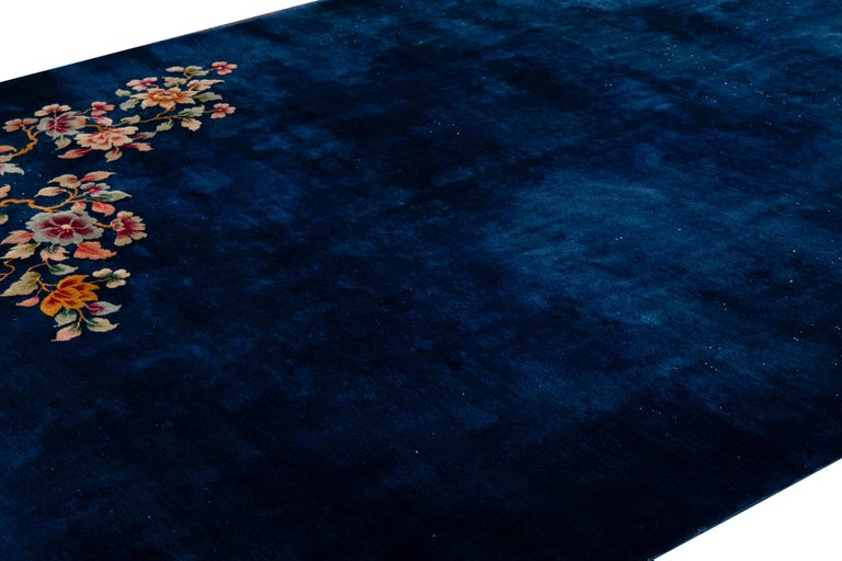 Early 20th Century Antique Art Deco Chinese Blue Handmade Floral Wool Rug For Sale