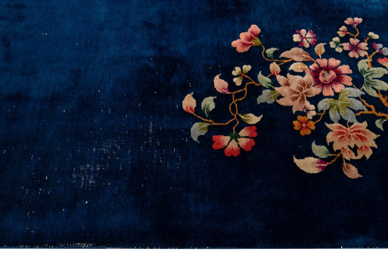 Antique Art Deco Chinese Blue Handmade Floral Wool Rug For Sale 1