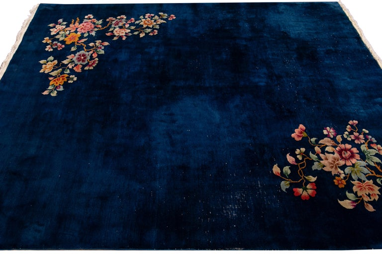 Antique Art Deco Chinese Blue Handmade Floral Wool Rug For Sale 2