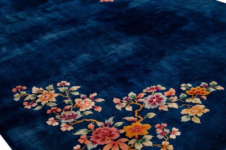 Antique Art Deco Chinese Blue Handmade Floral Wool Rug For Sale 3