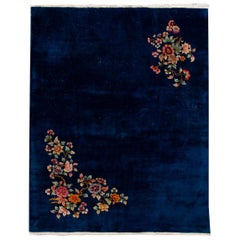 Antique Art Deco Chinese Blue Handmade Floral Wool Rug
