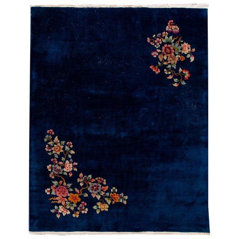 Antique Art Deco Chinese Blue Handmade Floral Wool Rug For Sale