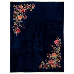Antique Art Deco Chinese Blue Wool Rug