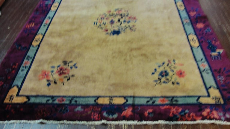 Antique Art Deco Chinese carpet, 6'2