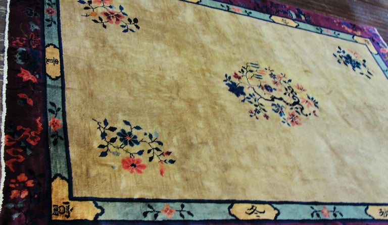 Hand-Knotted Antique Art Deco Chinese Carpet For Sale