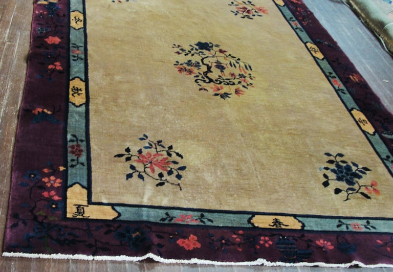 Antique Art Deco Chinese Carpet In Good Condition For Sale In Evanston, IL