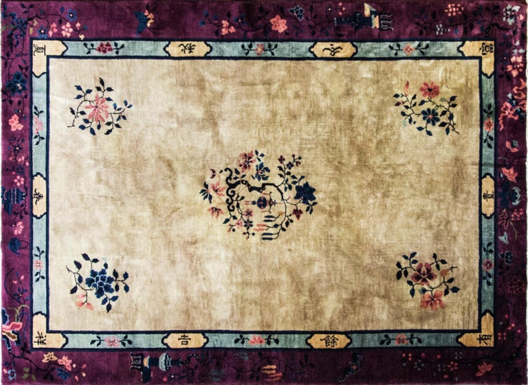 20th Century Antique Art Deco Chinese Carpet For Sale