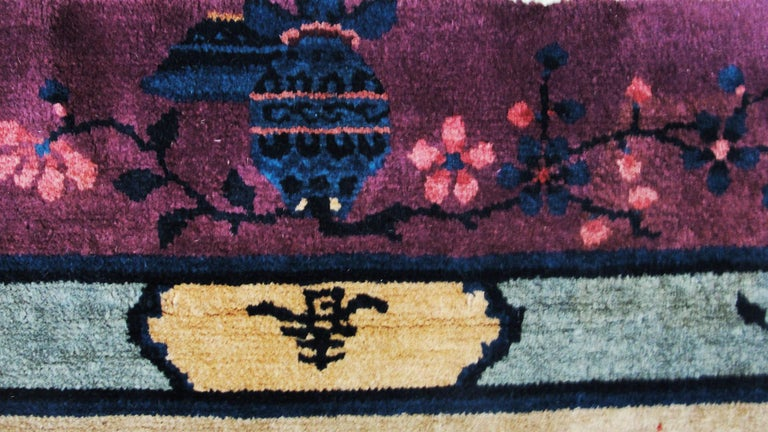 Wool Antique Art Deco Chinese Carpet For Sale