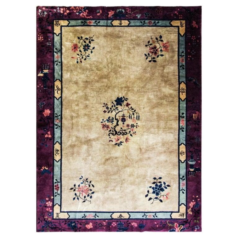 Antique Art Deco Chinese Carpet For Sale