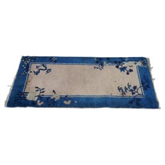 Antique Art Deco Chinese Floral Blue Pink Area Rug Mat Oriental Runner Wool